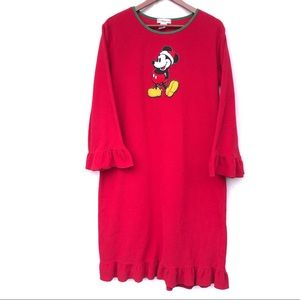 Disney Mickey Mouse Red Felt Night Gown Christmas